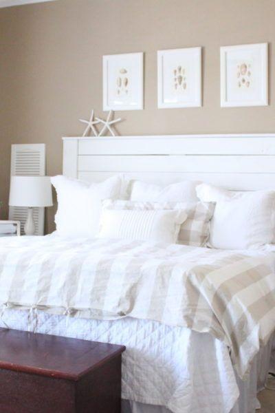 coastal bedroom shiplap headboard