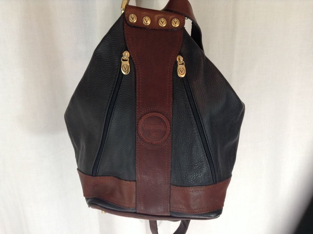 42b3c482fc Valentina Backpack Purse Leather Brown Black Bucket Bag Made in Italy in  Clothing