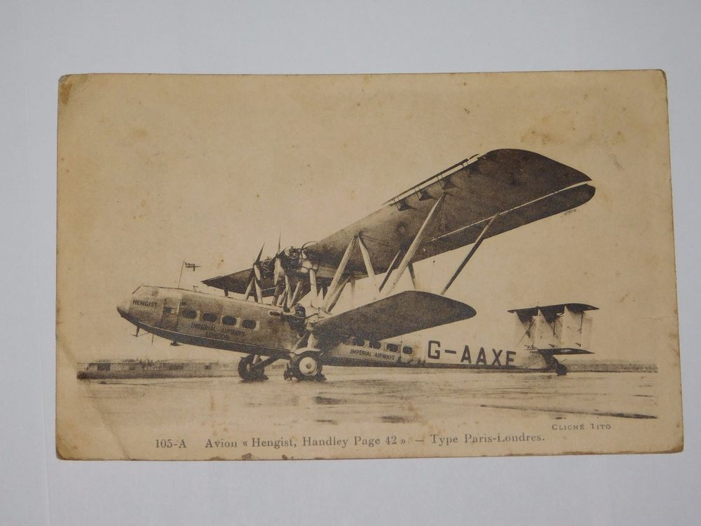 CPA  CARTE POSTALE ANCIENNE AVION HENGIST HANDLEY TYPE PARIS LONDRES  9CMX14CM