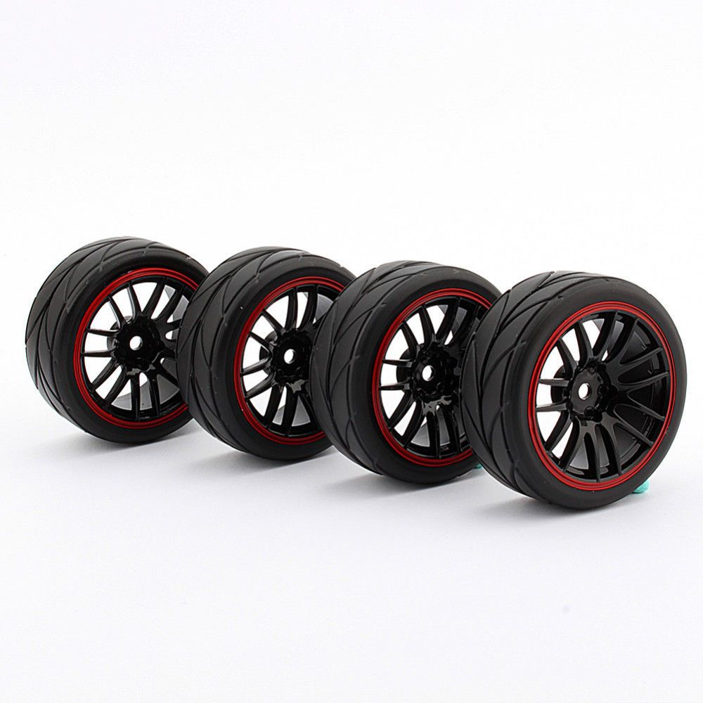 1:10 On Road Racing RC Car Rubber Tires Wheels Tyres Rims HSP HPI 9068-6081 - UK #Unbranded