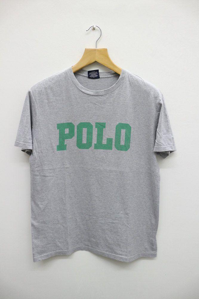 Vintage Polo Ralph Lauren Spell Out Joe Pesci Big Logo Hip Hop Gray