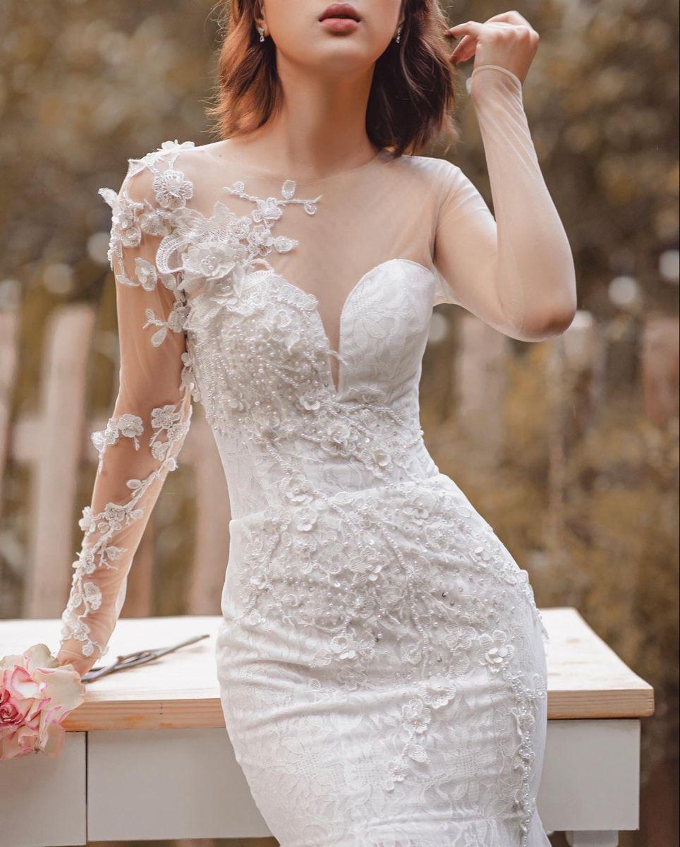 Wendy Asymmetrical Mermaid Wedding Dress With Long Sleeve Wedding Dresses Wedding Dresses Unique Illusion Neckline Wedding Dress [ 1200 x 964 Pixel ]