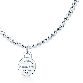 Return To Tiffany Small Round Tag In Sterling Silver On A Bead Necklace Joias