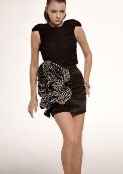 Rami Kashou Silk Chiffon & Organza Flower Mini Skirt Photograph ...