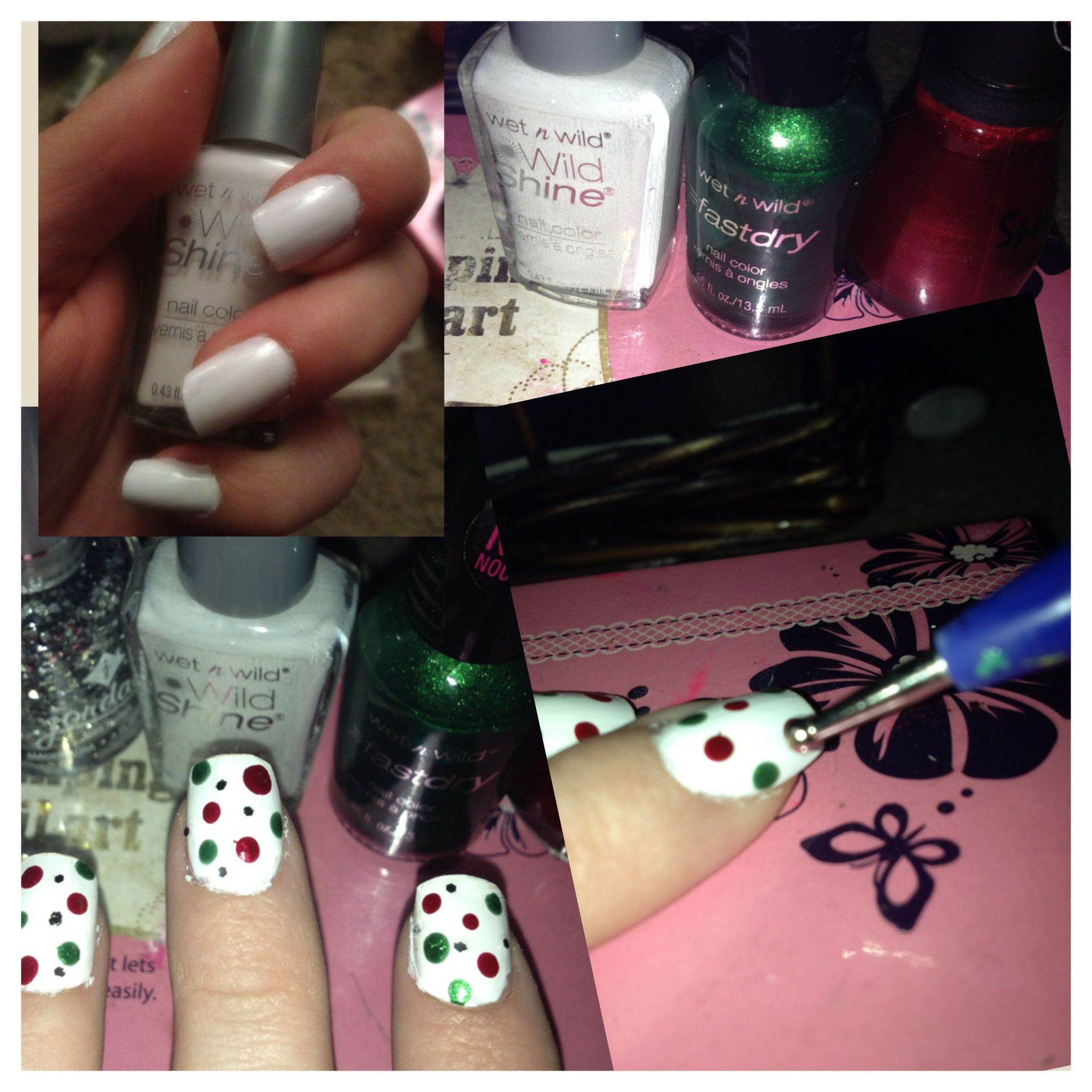 Easy Christmas Nails Paint White Base And Use A Dotter To Make Polkadots With Green Red Nail Polish I Added Some Silver Glitter For Little Extra