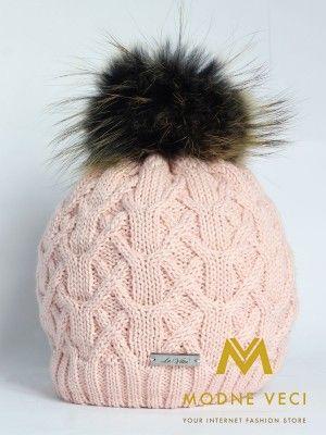 Dámská pletená čepice růžová s bambulí z pravé kožešiny 17 ... 0dda9f100a