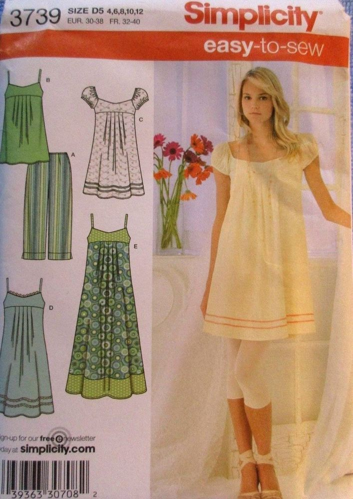 Simplicity Pattern 3739 Misses Dress 3 Lengths Tunic Capri Pants Sizes 4-12Uncut #Simplicity #Tunic
