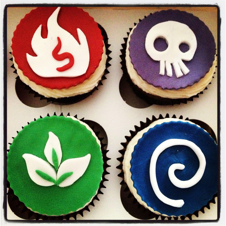 Skylanders Cupcakes Vanilla cake with vanilla frosting and handmade
