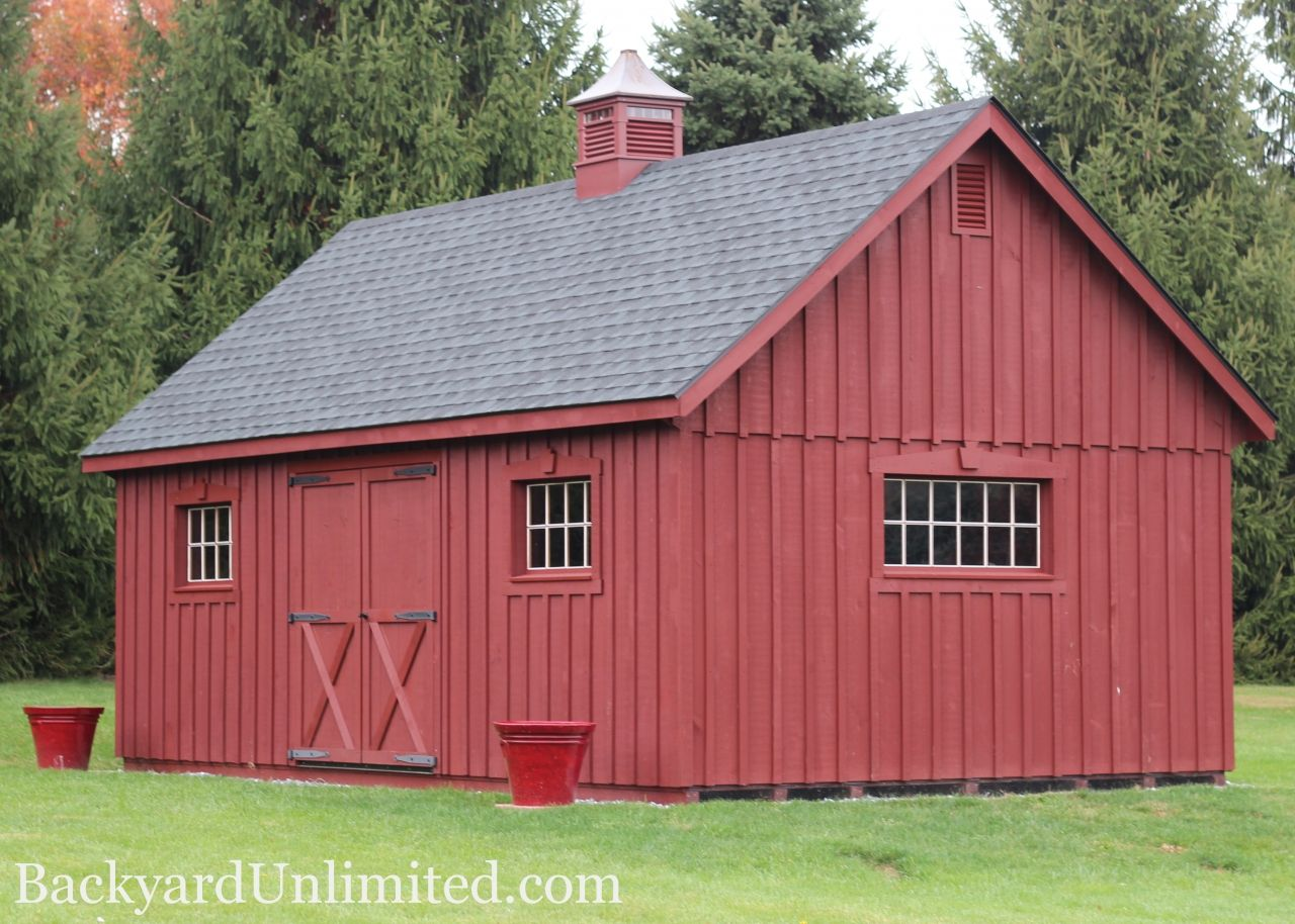12 X36 New England Shed With 8 X8 Transom Barn Door Ramp Gable Vents Additional Windows Flower Bo And Tall Double Entry
