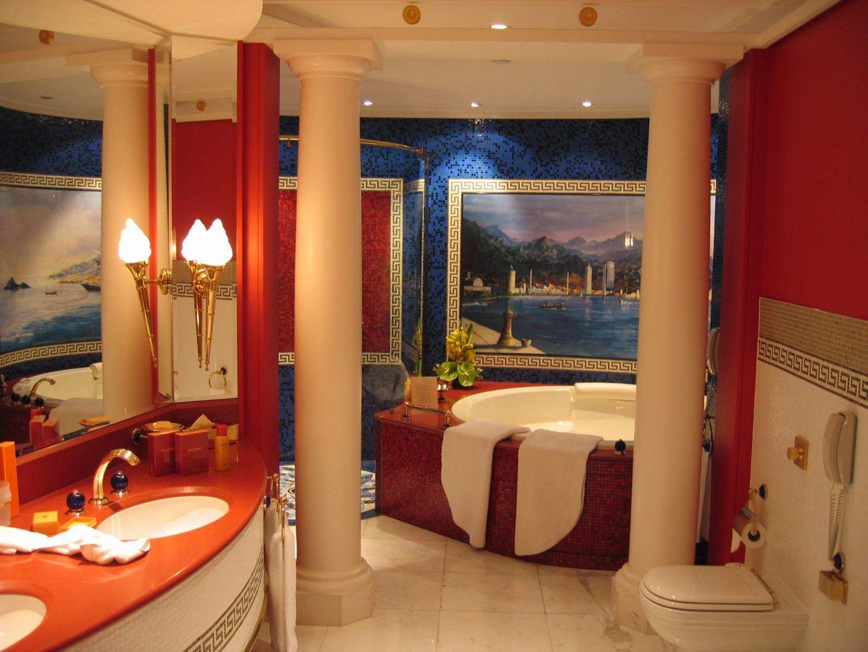 Cuartos de baño árabes en tonos rojos   Cuarto de baño ...