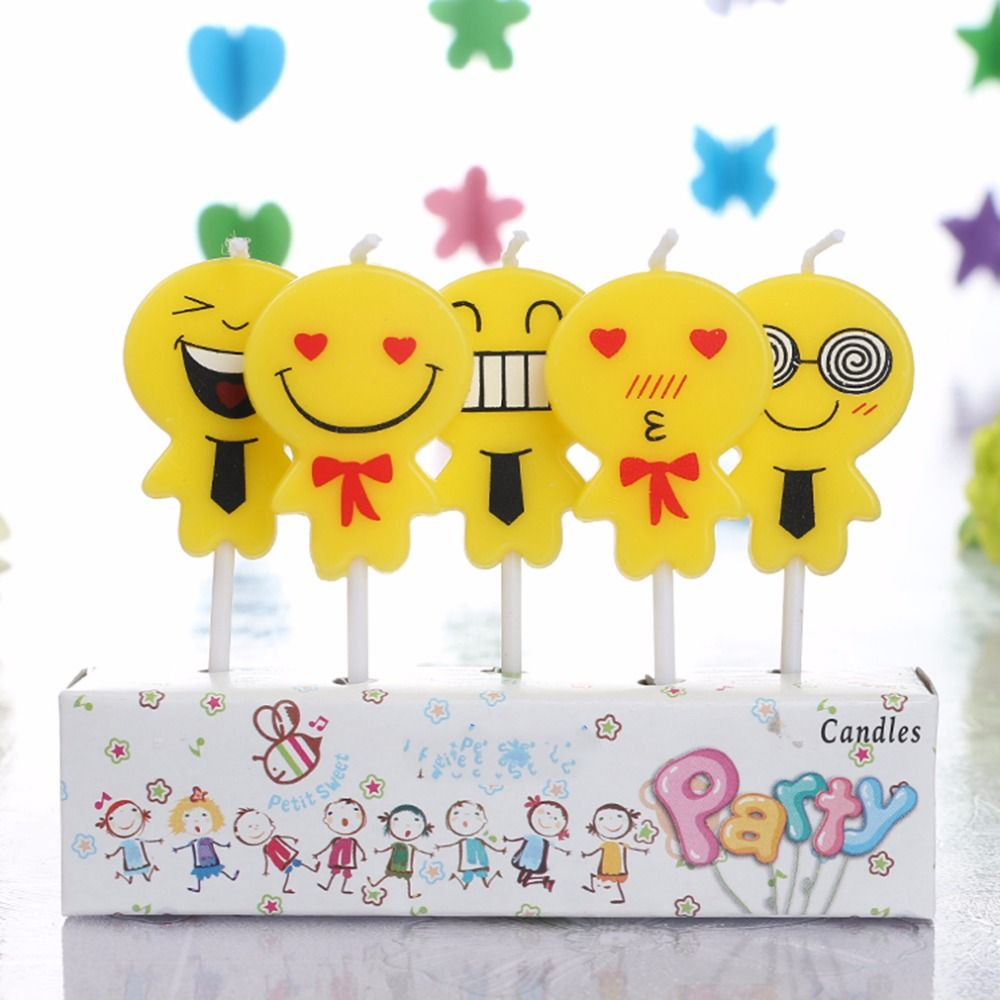 5Pcs//Set Cartoon Animals Birthday Cake Candle Toppers Kids Party Decor Supplies