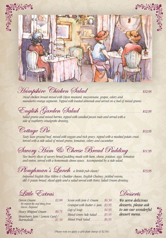 menupage3 Tea etiquette, Tea room, Tea time party