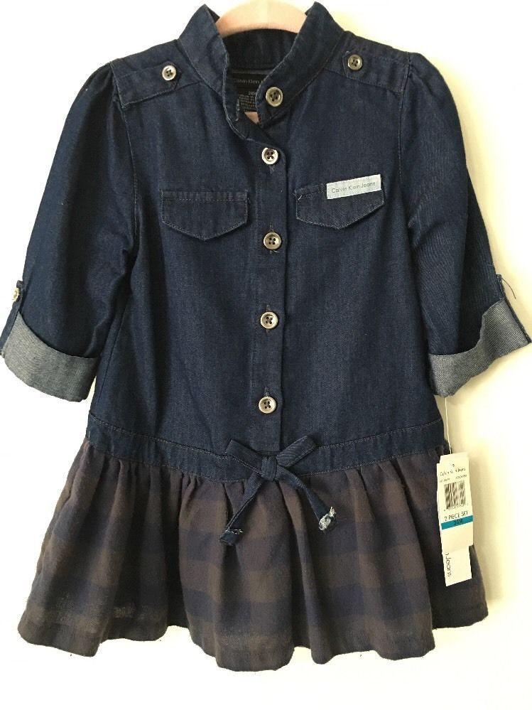 Calvin Klein Blue Denim Jersey Girl's Dress & Bloomers Size 24 NWT #CalvinKlein #ebay
