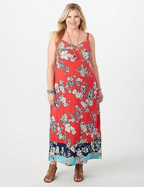 Plus Size Colorblock Floral Maxi Dress | dressbarn ...