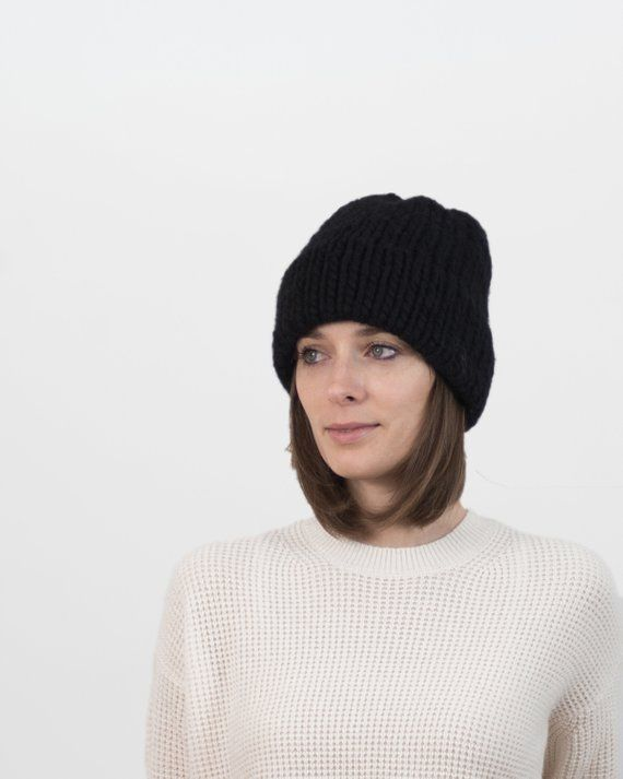c45012d40 Knit Beanie, Wool Hat, Double Brim, Chunky Knit Hat, Knitted ...