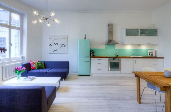 Open Concept Apartment Design in Stockholm | Green kitchen ...