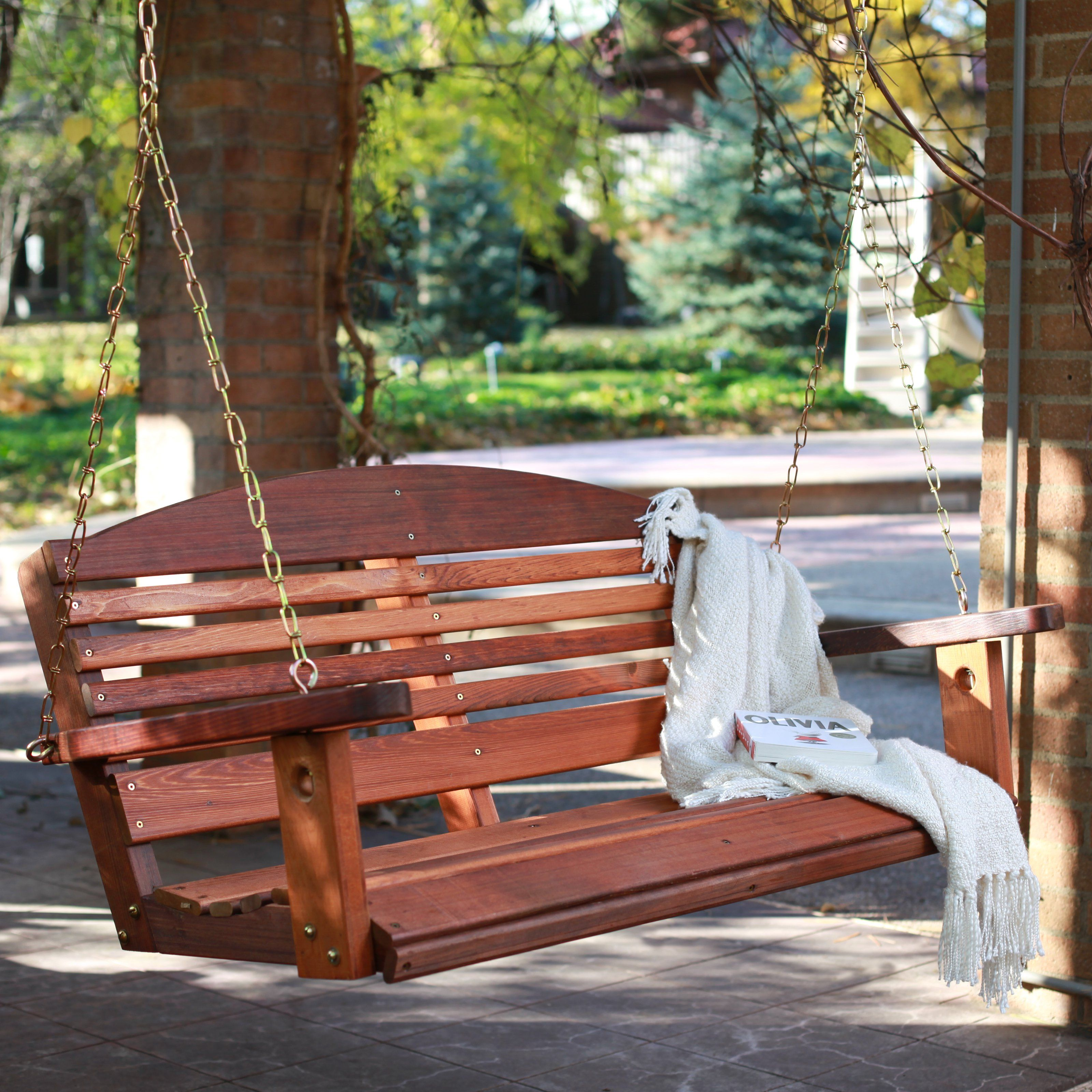 Have To Have It A Amp L Furniture Western Red Cedar Classic Curved Back Porch Swing 199 98 Hayneedle Porch Swing Plans Porch Swing Hanging Porch Swing