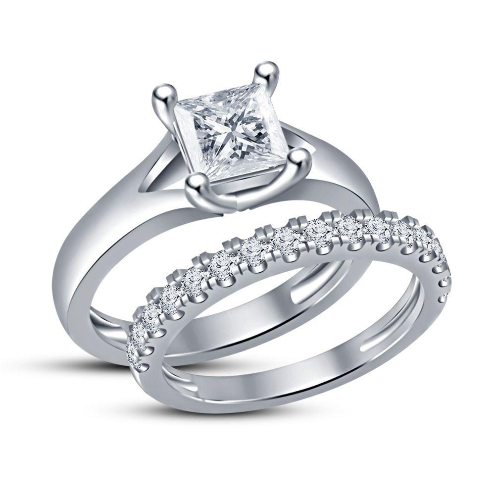 Princess cut solitaire ring u wedding band engagement bridal ring