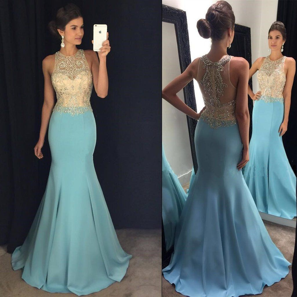 Gorgeous Beaded Halter Light Blue Satin Prom Dresses Mermaid | Blue ...