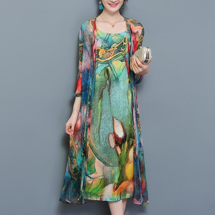 e58989f123ca Viacfarebné dvojdielne plážové šifónové midi šaty s kvetinovou potlačo –  Amoi.Sk