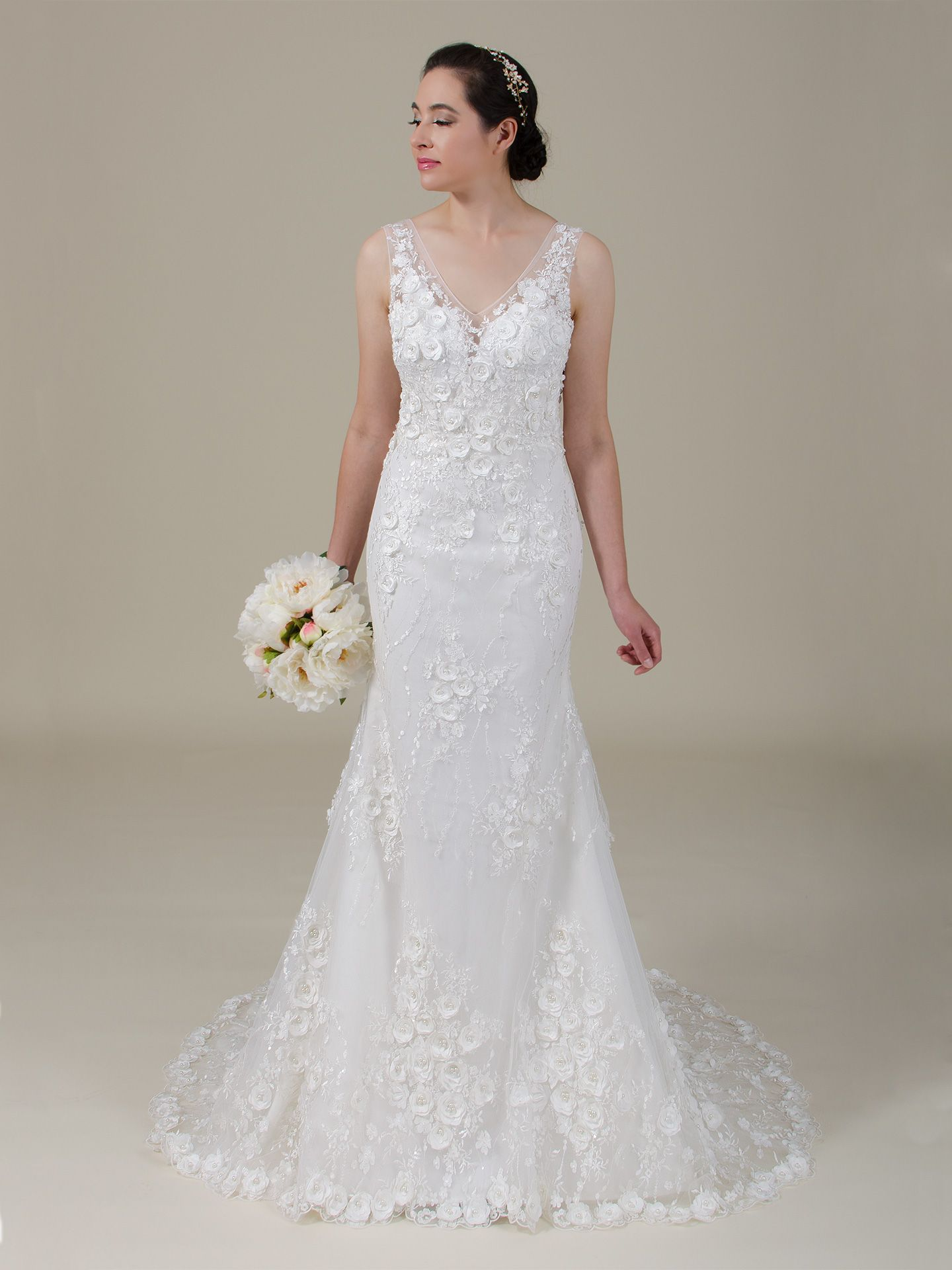 3d Flowers Lace Wedding Dress 4062 Lace Weddings Lace Wedding