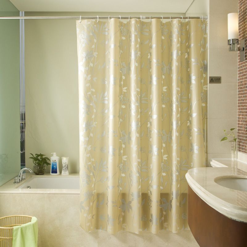 Click To Buy Gold Peva Bath Curtains Flower Eco Friendly