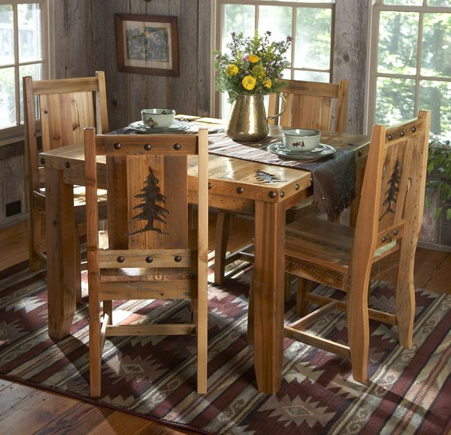 Barn Wood Table Chairs W Carved Trees 5 Pcs Rustic Kitchen