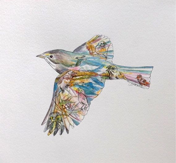 Parrot Home Decor Trend Flying High: Sparrow Painting, Bird Silhouette, Original Watercolor
