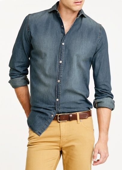 Slim Fit Denim Overhemd.Denim Slim Fit Overhemd Medium Heren Men S Fashion Pinterest