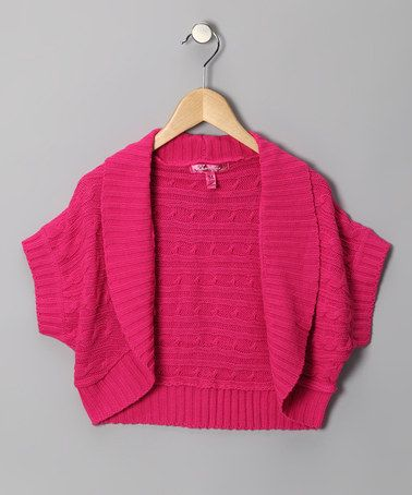 Take a look at this Deep Pink Cable-Knit Shrug - Girls by Cherry Stix $10.99