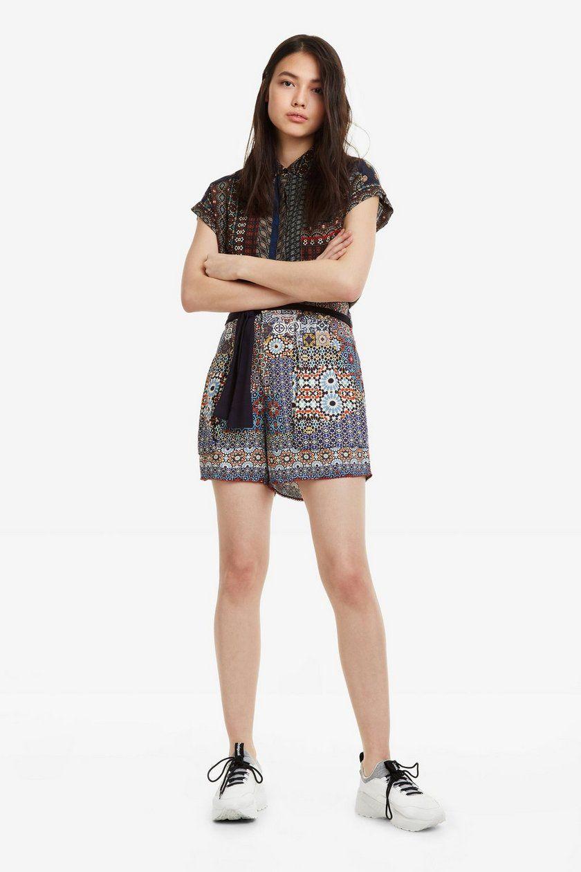 Shorts Con Patchwork Shasa Ropa En 2019 Moda Para