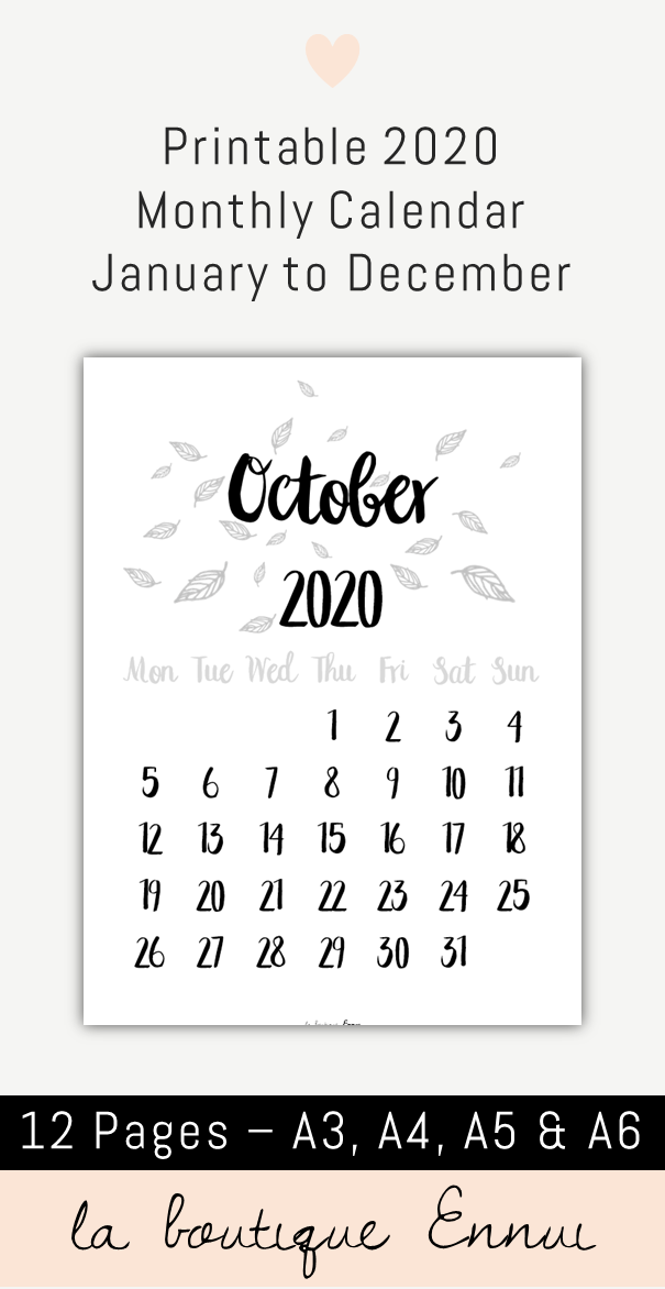 2020 Monthly Calendar Printable December Printable 2020 monthly calendar in black and white with a floral