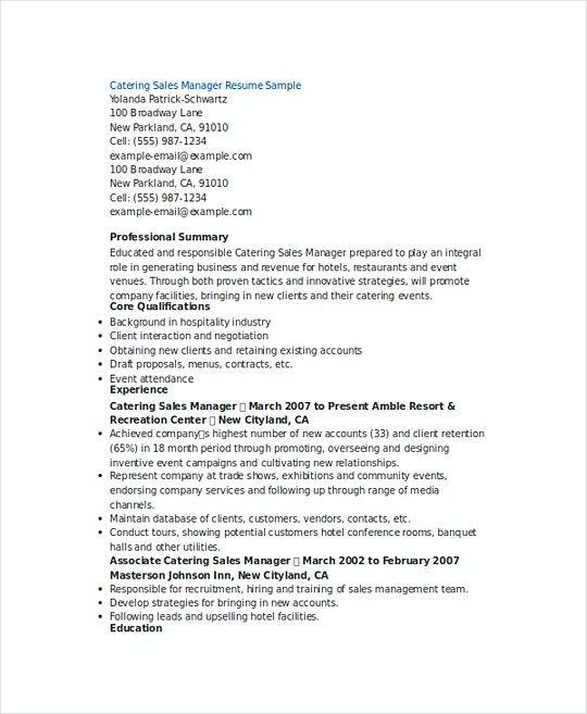 Catering Sales Manager resume template , Sales Operations Manager - sample operations manager resume