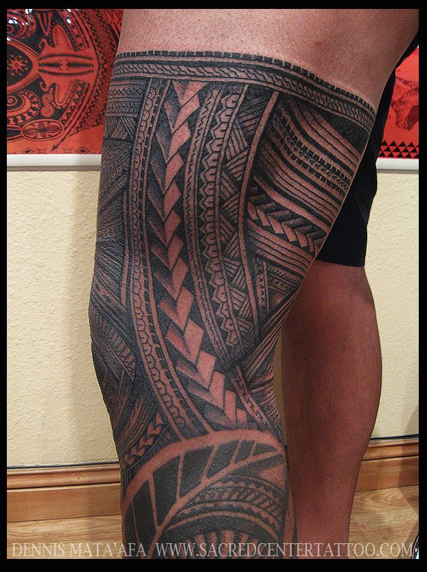 Leg by Dennis at Sacred Center Tattoo | Polynesian Art ...