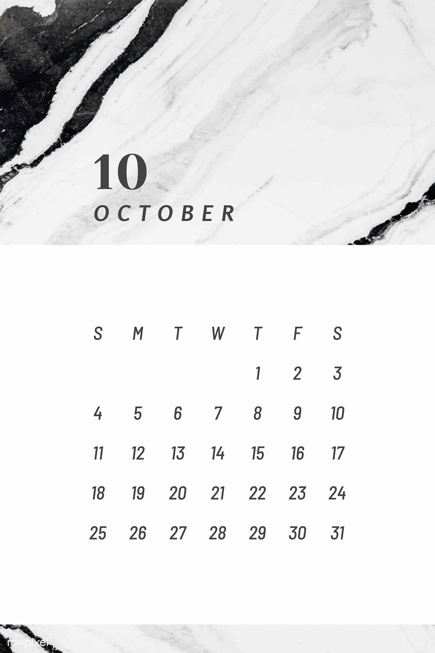 Download Premium Vector Of Black October Calendar