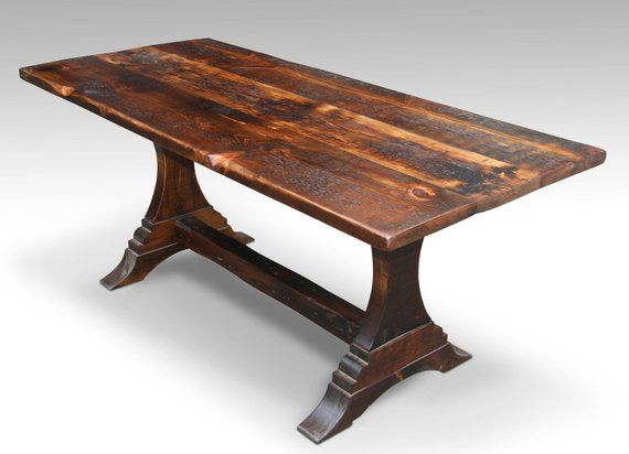 4 foot 48 rustic trestle leg farm table with dark stain rh pinterest com