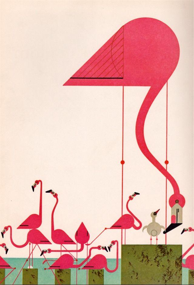 Charley Harper + Vintage + Graphic Art + Flamingo at the Beach ...