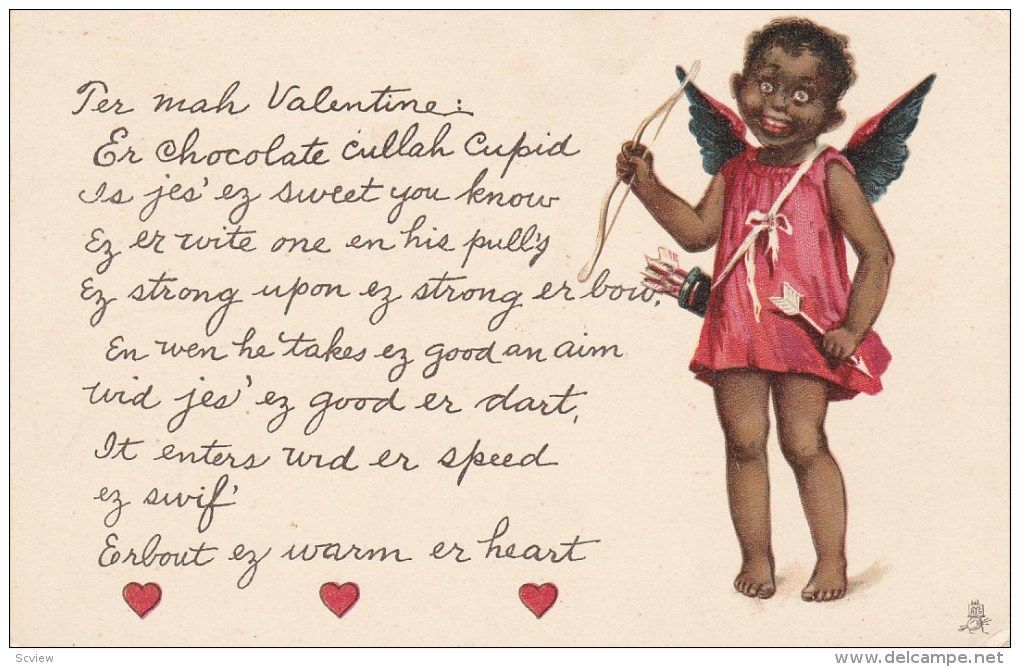Black african american cupid girl with bow and arrow slang black african american cupid girl with bow and arrow slang valentine message pre 1907 m4hsunfo