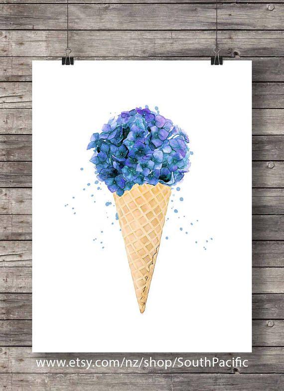 Cone De Creme Glacee Imprimerable Art Fleur De Bouquet D Aquarelle