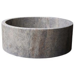 Cylindrical Natural Stone Vessel Sink Antico Travertine