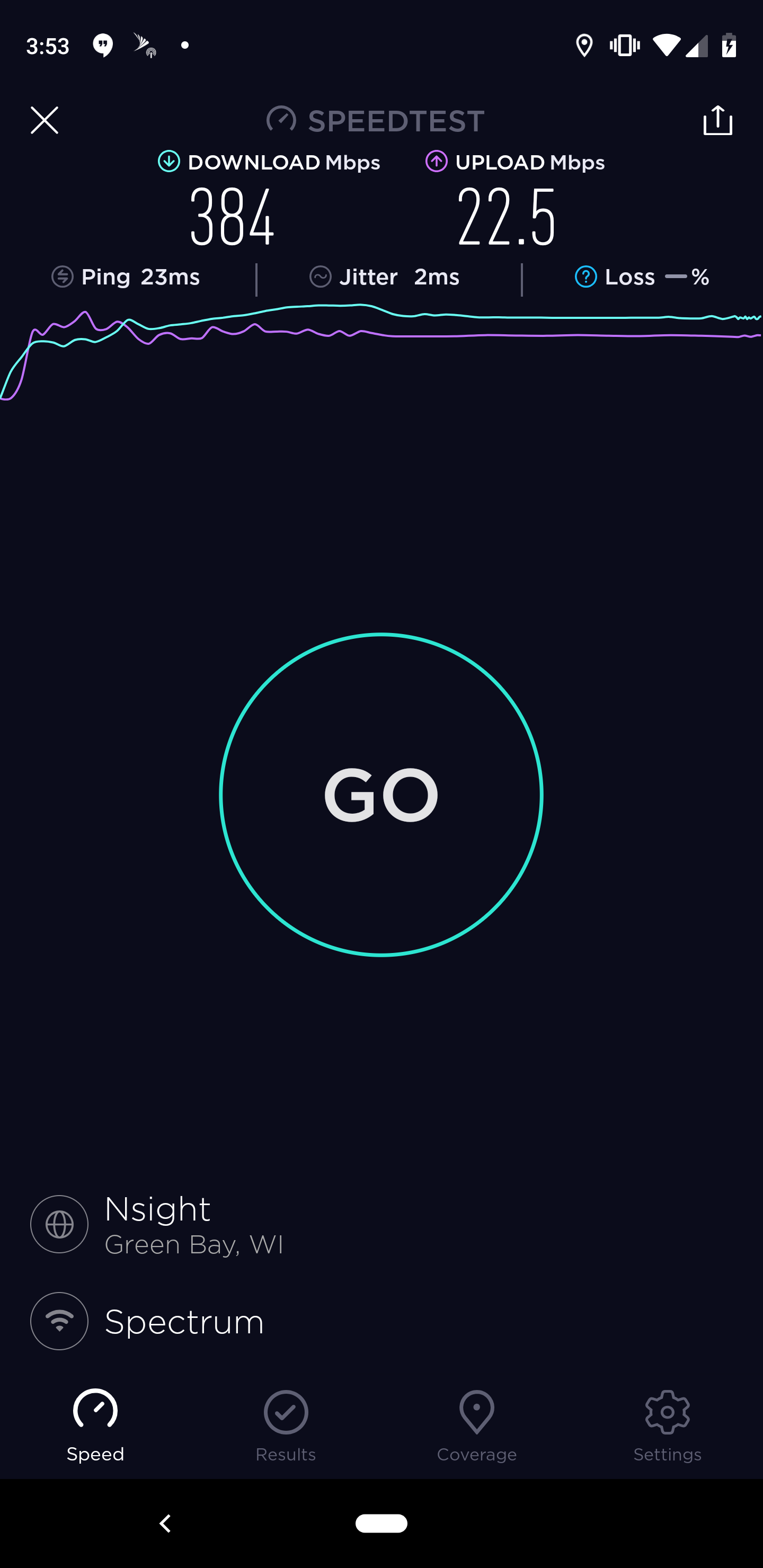 400 Mbps Spectrum connection  This speed test was done over