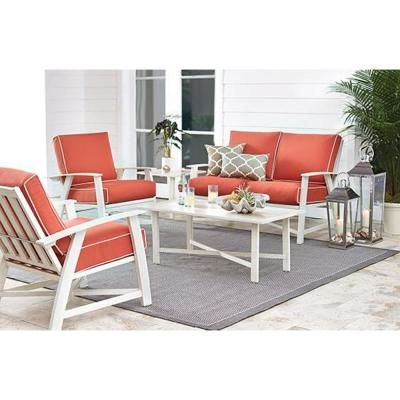St Augustine 5 Piece Aluminum Patio Chat Set With Coral Cushions Fsa10041a St Coral The Home Depot Deep Seating Patio Seating Sets Aluminum Patio