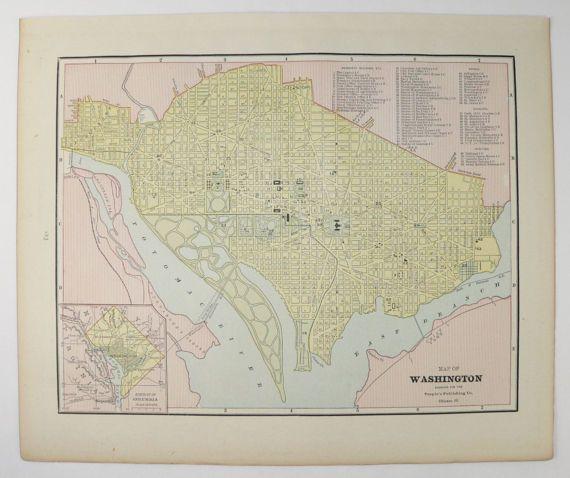 Washington DC Map US Capital City Street Map Vintage Map - Map of us washington dc