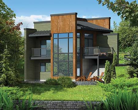 Plan 80816pm Modern Getaway For A Front Sloping Lot