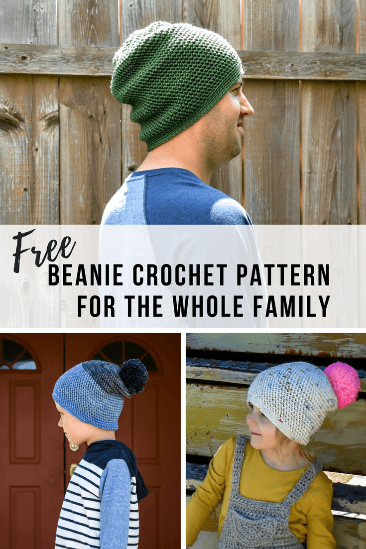 af48ef98efe A slouchy beanie crochet pattern that comes in sizes for the whole family.  Get the simple free crochet pattern here.