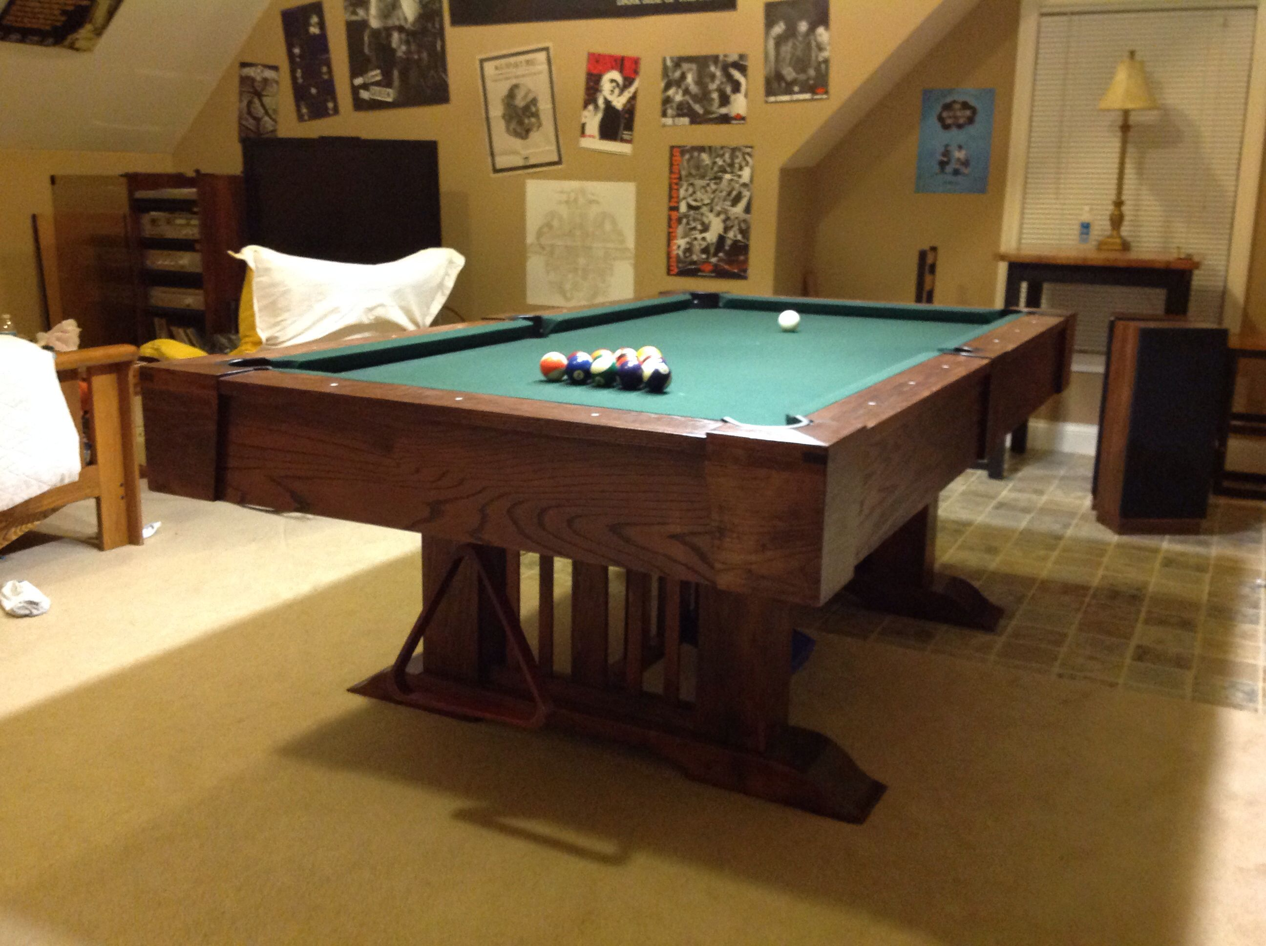 Mission Style Table DIY Built From American Elm And Red Oak. Top Is One  Piece Slate From Old Money Box / Bar Style Pool Table. Rails Are Hard  Maple/oak With ...