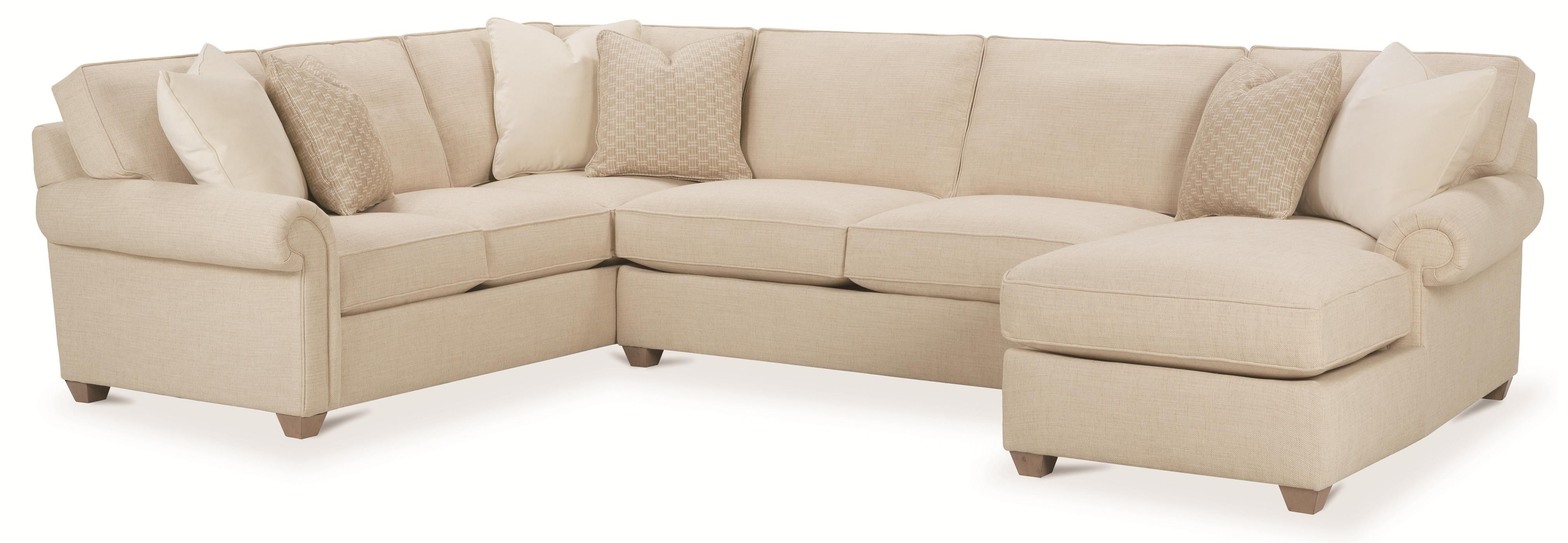 Morgan Traditional Three Piece Sectional Sofa by Rowe