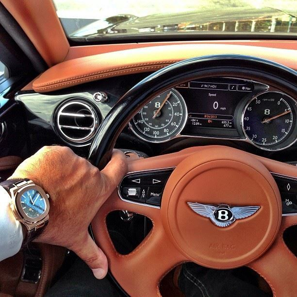 Bentley Luxury Car Inside: Men's Street Style:patek Phillipe Watch, Bentley Car