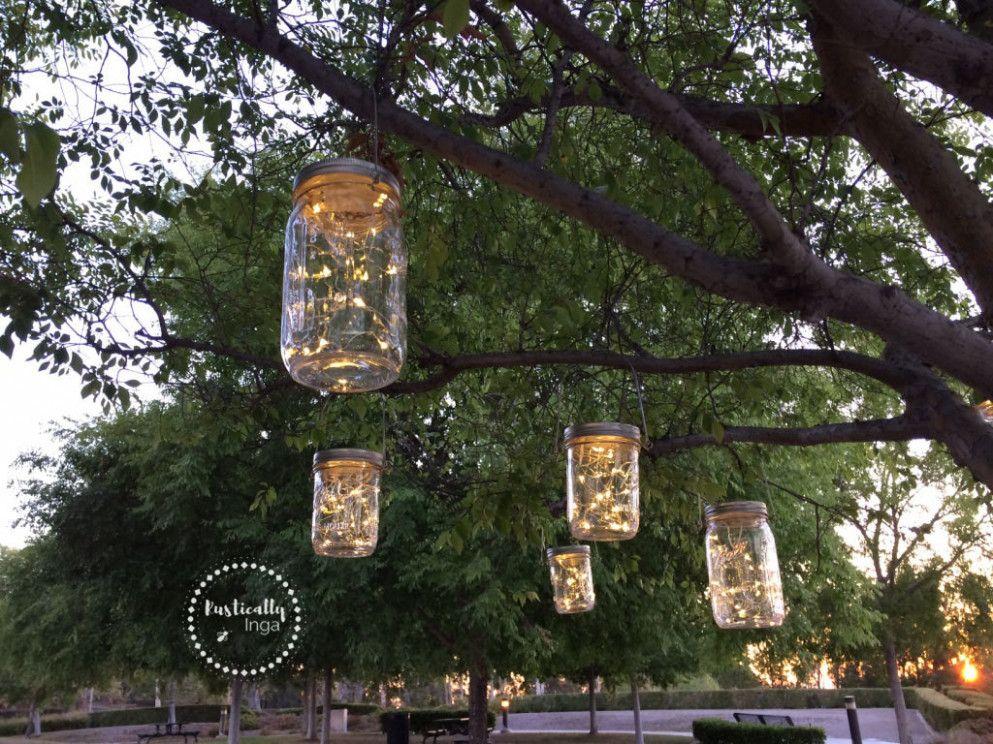 Backyard Wedding Tree Mason Jars