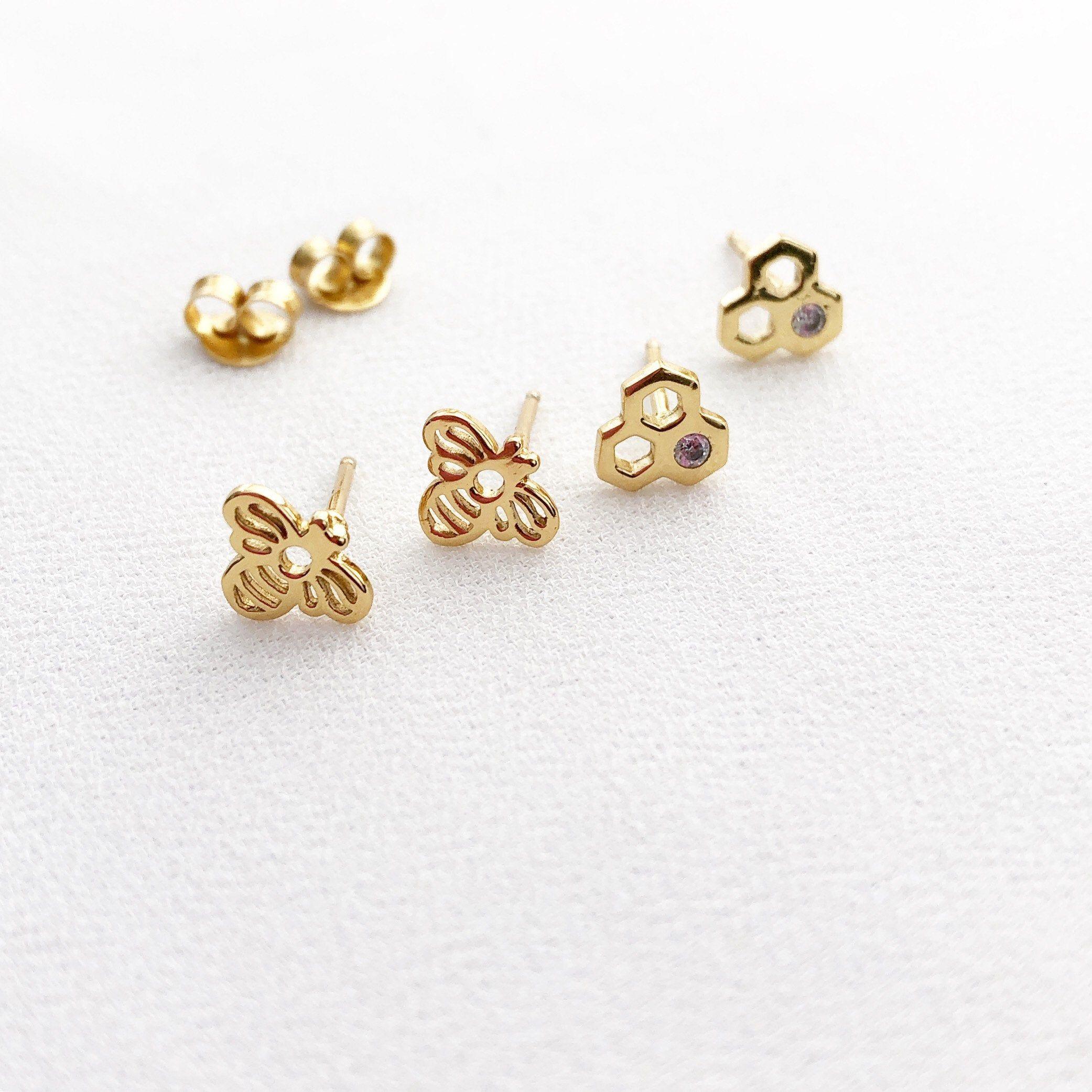 DONATION to save the Honeybees! Honeycomb /& Honeybee Silver Earrings